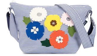 Familiar Striped Floral Pattern Shoulder Bag