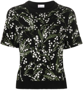 RED Valentino Floral-Intarsia Knitted Top