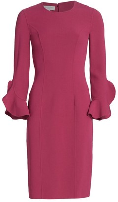 Michael Kors Stretch Wool Crepe Ruffle-Sleeve Sheath Dress