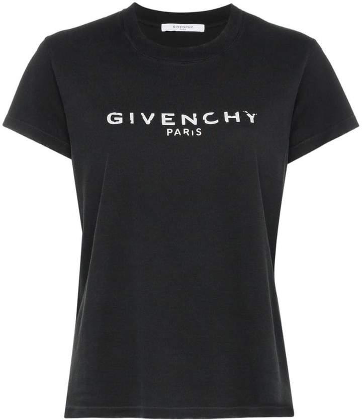 Givenchy logo motif print cotton short sleeve t shirt