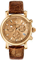 Versace 38mm Day Glam Chronograph Watch w/ Leather Strap, Golden/Brown