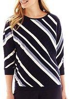 Liz Claiborne 3/4 Dolman-Sleeve Diagonal-Striped Sweater - Petite