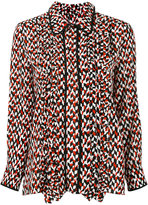 Marni printed ruffle trim shirt - women - Silk - 40