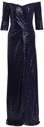 Rene Ruiz Collection Three-Quarter Sleeve Sequin Column Gown