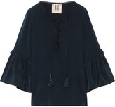 Figue Poet Ruffle-trimmed Brushed-silk Blouse - Navy