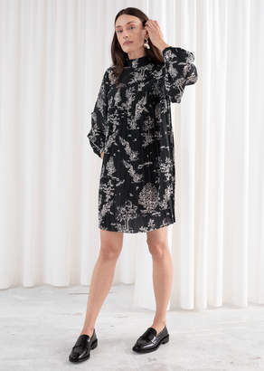 And other stories Toile Plisse Mini Turtleneck Dress