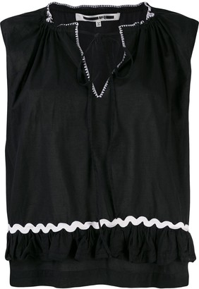 McQ Swallow Ruffle Hem Top