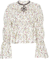 Giambattista Valli Ruched Jeweled Neck Floral Print Top