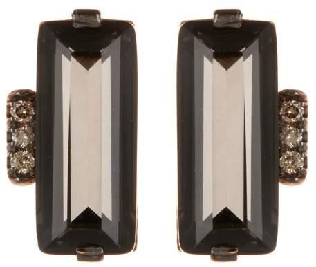 Suzanne Kalan 14K Rose Gold Black Night Quartz & Champagne Diamond Baguette Earrings