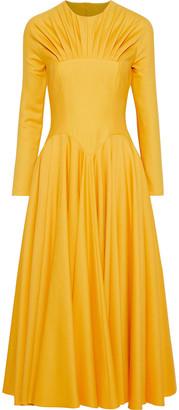 Emilia Wickstead Nasiba Cutout Pleated Wool-gabardine Midi Dress