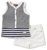 7 For All Mankind Baby Girls 12-24 Months Striped Jersey Tank & Denim Shorts Set