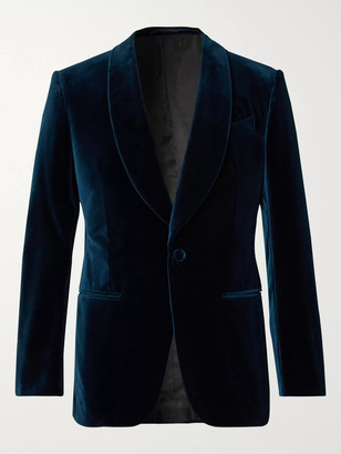 Ermenegildo Zegna Blue Slim-Fit Cotton-Velvet Tuxedo Jacket