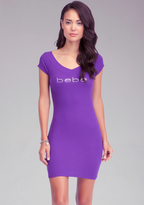Bebe Logo V Neck Mini Dress