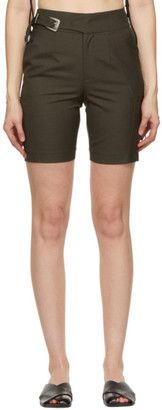 ANDERSSON BELL Khaki Wool Biker Diego Shorts