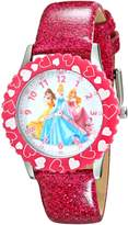 Disney Kids' W001801 Princess Stainless Steel Watch with Pink Glitter Faux Leather Band