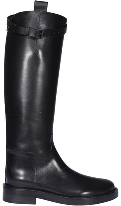 Ann Demeulemeester Bukcle-Detailed Knee-High Boots