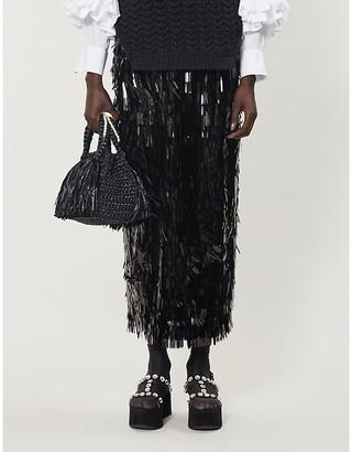 Simone Rocha Sequin-tasselled woven midi skirt