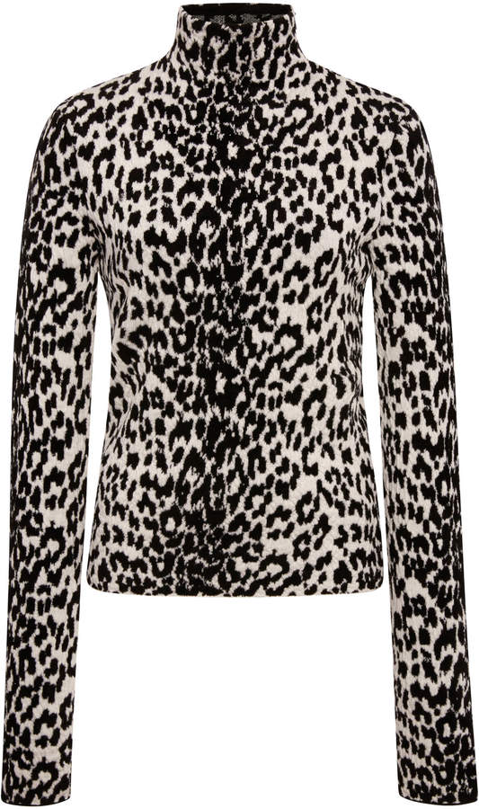 Givenchy Leopard-Print Wool-Blend Turtleneck Sweater