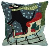 "Liora Manné Frontporch Sledding Dog Pillow Blue - (18""x18"") Square"