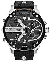 Diesel Mr. Daddy 2.0 Stainless Steel Multifunction Leather Strap Watch