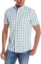 Izod Men's Short Sleeve Non-Iron Large Plaid Shirt