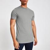 Mens Grey curved hem longline T-shirt