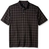 Arrow Men's Big and Tall Short Sleeve Printed Windowpane Oxford Polo