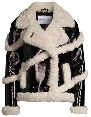 Stand Studio Melendy Faux Fur-Trimmed Faux Leather Jacket