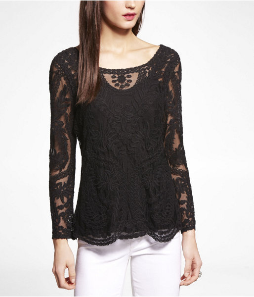 Express Embroidered Lace Tee