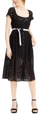 Nanette Lepore Inner Circle Eyelet Midi Dress