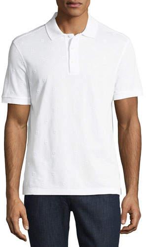 Salvatore Ferragamo Men's Pique Polo Shirt with Floating Gancio Embroidery