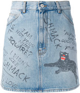 Gucci scribbled writing denim mini skirt