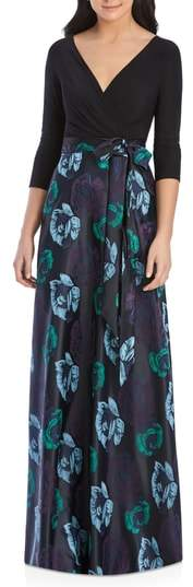 Alfred Sung Faux Wrap Jersey & Brocade Gown