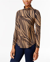 JM Collection Petite Printed Turtleneck Top, Only at Macy's