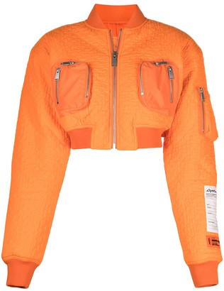 Heron Preston Cropped Quilted Bomber Jacket