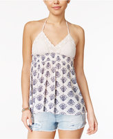 American Rag Crochet Printed Babydoll Halter Top, Created for Macy's