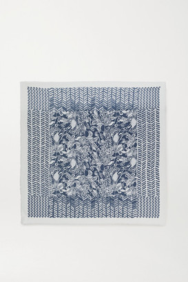 Loro Piana Fringed Printed Cashmere And Silk-blend Scarf - Navy
