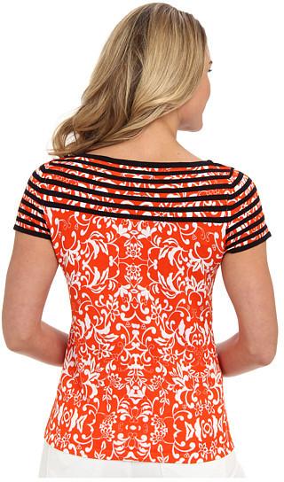 Jones New York Cap Sleeve Print/Stripe Top