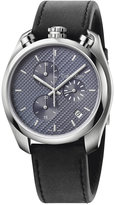 Calvin Klein control Men's Swiss Chronograph Black Leather Strap Watch 44mm K6Z371C4