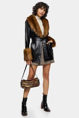 Topshop Womens Black Faux Fur Trimmed Pu Coat - Black