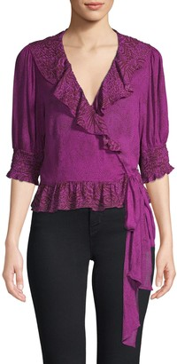 Free People Ruffled Wrap Top