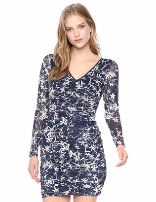 GUESS Women's Floral Printed Mesh Bodycon