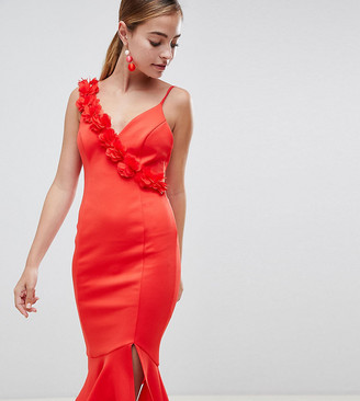 Asos DESIGN Petite corsage strap pephem midi dress