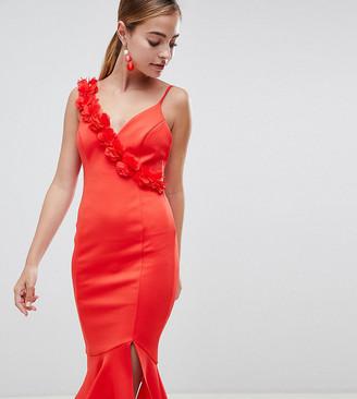 Asos DESIGN Petite corsage strap pephem midi dress-Red