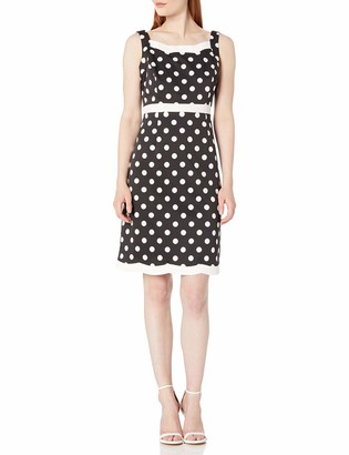 Kasper Women's Classic Dot Printed Scallop Dress