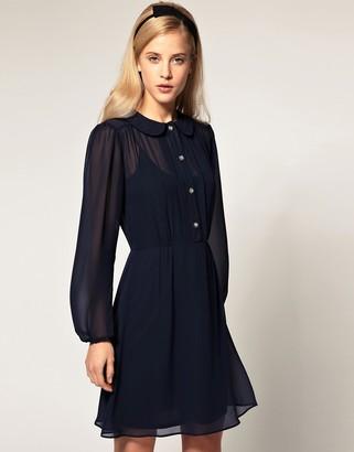 Asos Design Special Button Chiffon Dress-Navy