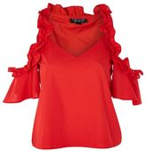 Topshop Ruffle cold shoulder top