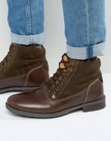 Original Penguin Original Peguin Lace Up Boots In Brown Leather