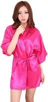 Honeystore Women's Short Lounge Kimono Robe Satin Bridesmaid Nightwear Silk Gown M