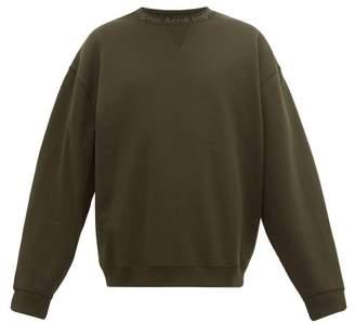 Acne Studios Flogho Cotton Jersey Sweatshirt - Mens - Dark Green